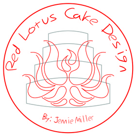 Red Lotus Cake Design